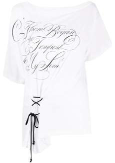 Ann Demeulemeester lace-up gathered T-shirt
