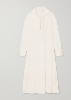 Ann Demeulemeester Lace-up Striped Gauze Dress