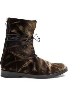Ann Demeulemeester lace-up velvet boots