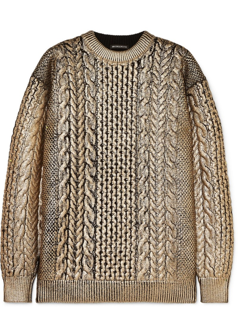 Ann Demeulemeester Metallic Cable-knit Wool Sweater
