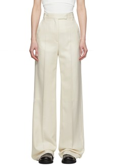 Ann Demeulemeester Off-White Silk & Wool Creased Trousers