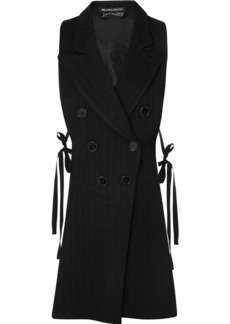 Ann Demeulemeester Open-back Herringbone Wool-blend And Satin-twill Vest