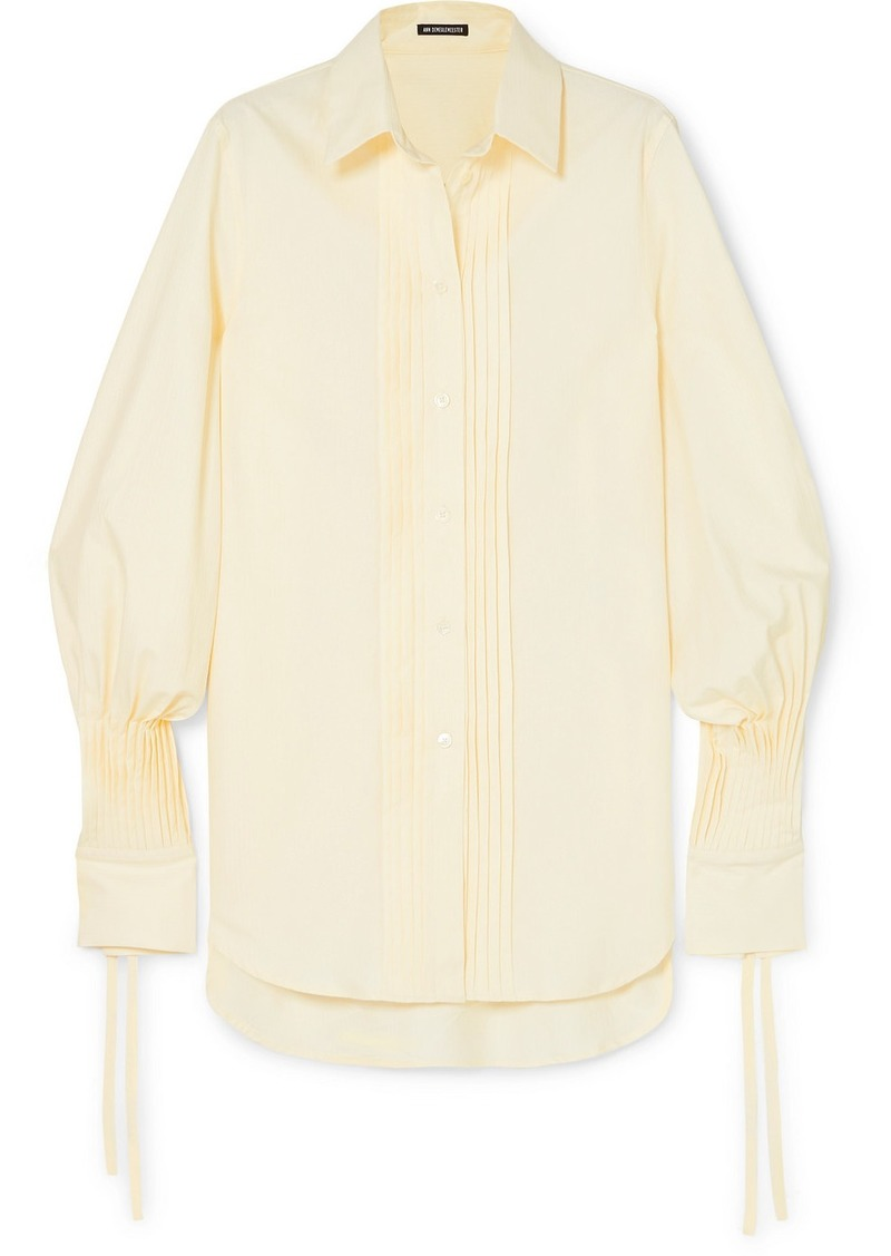 Ann Demeulemeester Pintucked Striped Cotton-poplin Shirt