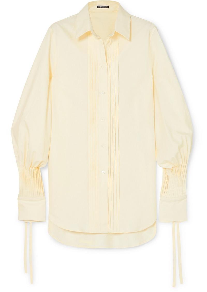 Ann Demeulemeester Pintucked Striped Cotton-poplin Shirt