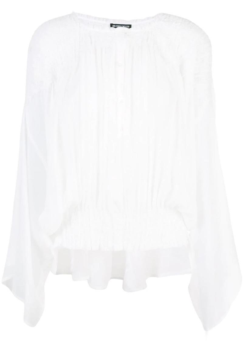 Ann Demeulemeester pleated collarless shirt