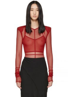 Ann Demeulemeester Red la fille d'O Edition Soft Tulle Constructed Bodysuit