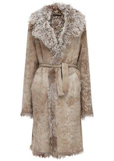 Ann Demeulemeester Reversible Shearling & Suede Long Coat