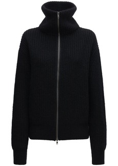 Ann Demeulemeester Ribbed Knit Wool Zip-up Sweater