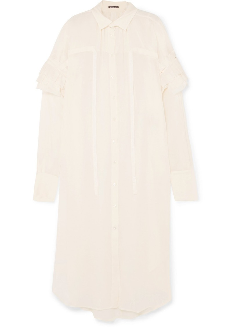 Ann Demeulemeester Ruffled Cotton And Cashmere-blend Dress