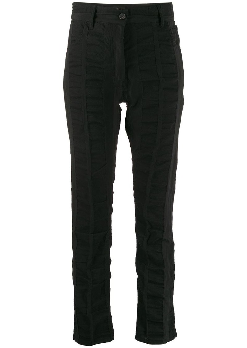 Ann Demeulemeester smocked panel slim fit trousers