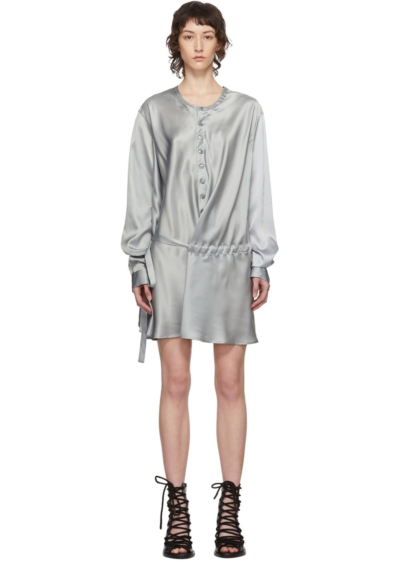 Ann Demeulemeester SSENSE Exclusive Grey Silk Belted Shirt Dress