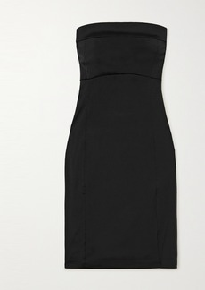Ann Demeulemeester Strapless Button-detailed Stretch-satin Dress