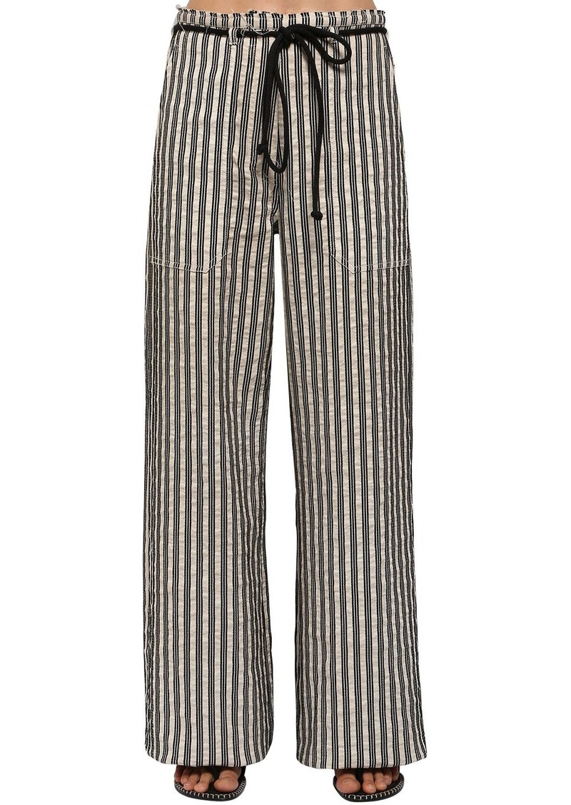 Ann Demeulemeester Striped Cotton Gabardine Wide Leg Pants
