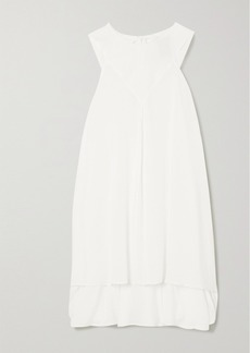 Ann Demeulemeester Tie-detailed Asymmetric Crepe And Cotton And Cashmere-blend Top