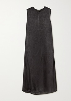 Ann Demeulemeester Tie-detailed Washed-satin Midi Dress