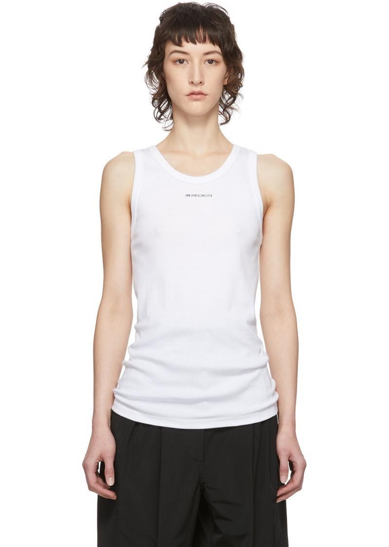 Ann Demeulemeester White Logo Tank Top
