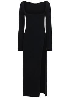 Ann Demeulemeester Wool Square Neck Long Dress W/split