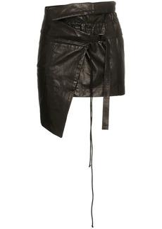 Ann Demeulemeester wrap asymmetric leather mini skirt