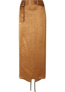 Ann Demeulemeester Wrap-effect Belted Crinkled-satin Midi Skirt