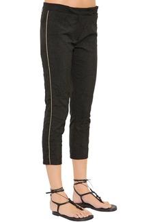 Ann Demeulemeester Wrinkled Stretch Wool Blend Capri Pants