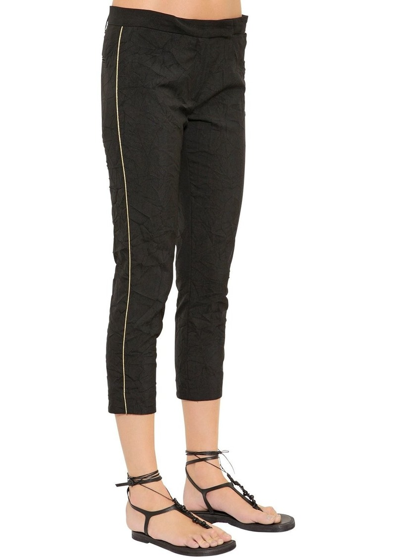 Ann Demeulemeester Wrinkled Stretch Wool Blend Capri Pants