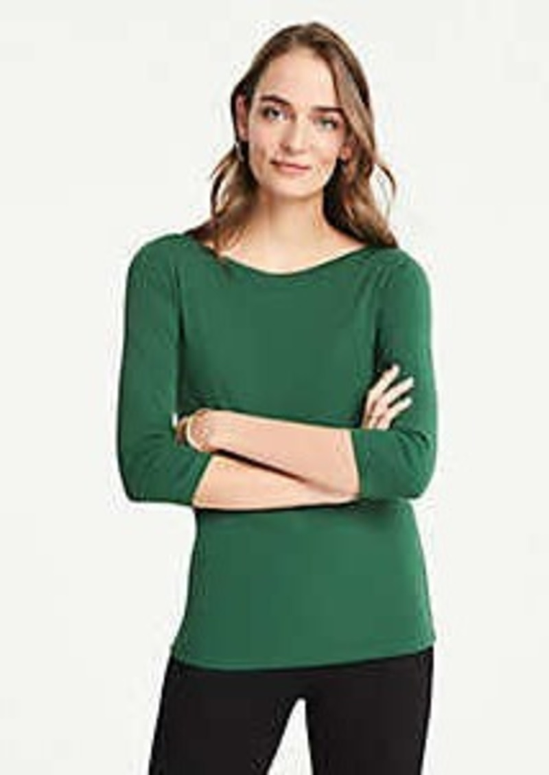 Ann Taylor 3/4 Sleeve Boatneck Luxe Tee