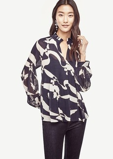 Abstract Butterfly Micro Pleat Blouse