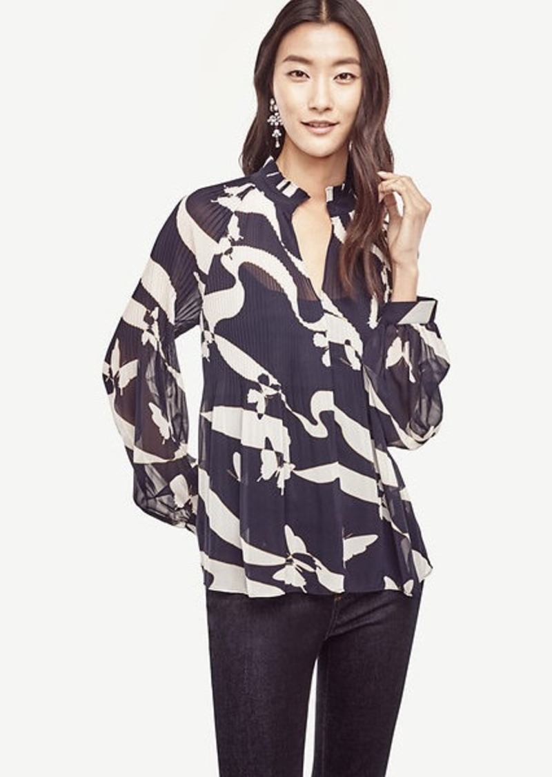 9c6b74fe58e9e Ann Taylor Abstract Butterfly Micro Pleat Blouse