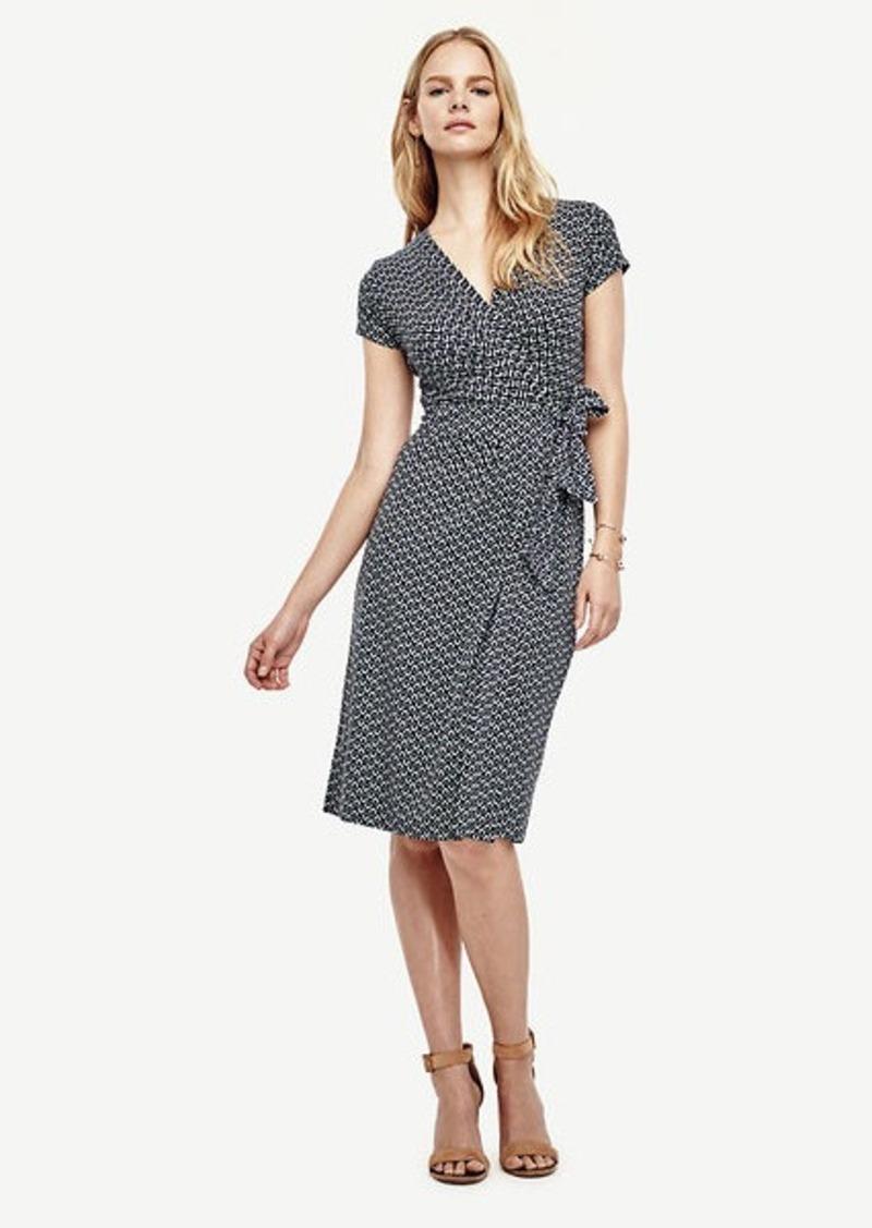 Ann Taylor Abstract Diamond Pleated Wrap Dress