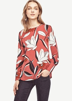 Ann Taylor Abstract Floral Wide Cuffed Blouse