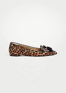 Ann Taylor Ada Leopard Print Haircalf Tassel Flats