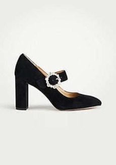 Ann Taylor Adaline Jeweled Suede Mary Jane Pumps