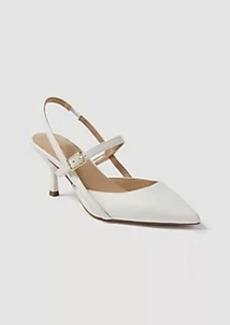 Ann Taylor Alena Leather Strappy Slingback Kitten Heels
