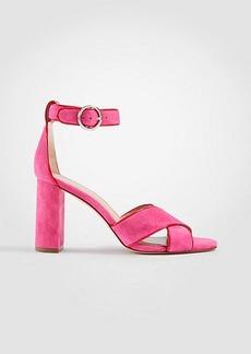Ann Taylor Alexa Suede Block Heel Sandals