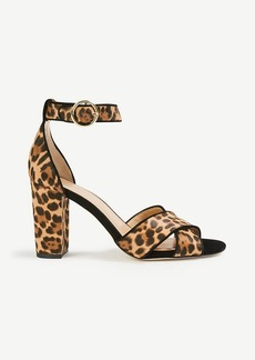 Ann Taylor Alice Leopard Print Haircalf Block Heel Sandals