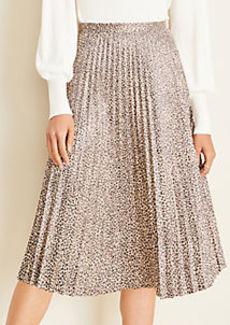 Ann Taylor Cheetah Print Faux Suede Pleated Midi Skirt