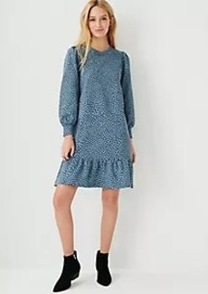 Ann Taylor Animal Print Peplum Sweatshirt Dress