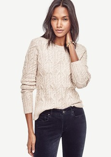 Ann Taylor Aran Crewneck Sweater