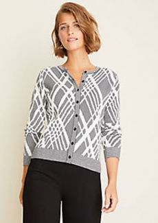 Ann Taylor Argyle Seasonless Yarn Ann Cardigan