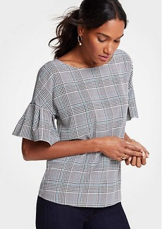 Ann Taylor Autumn Plaid Flutter Sleeve Top
