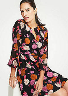 Ann Taylor Autumnal Floral Chiffon Sleeve Flare Dress