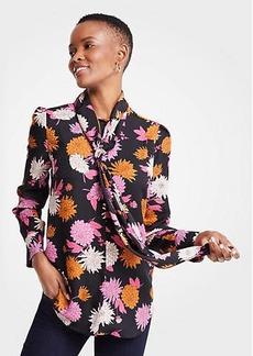 Ann Taylor Autumnal Floral Tie Neck Blouse