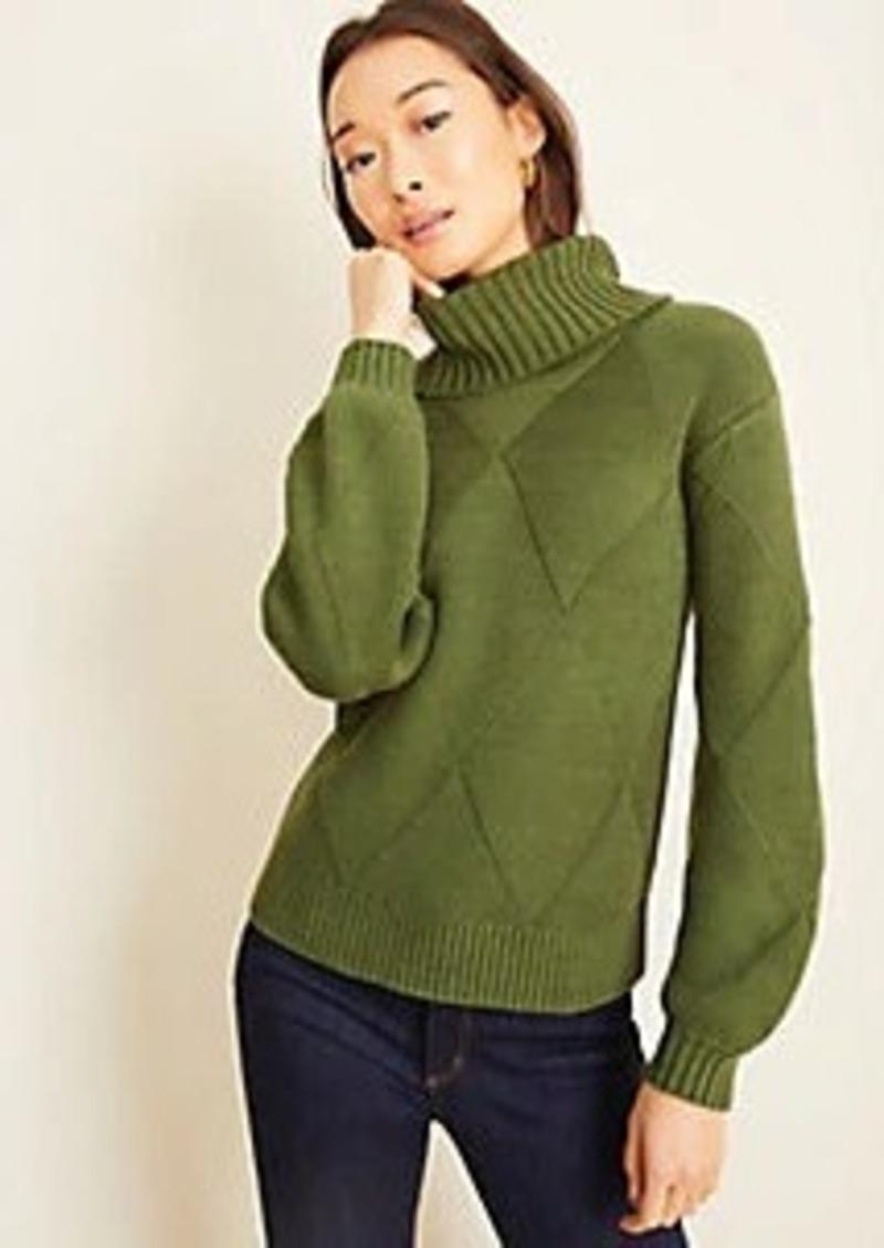 Ann Taylor Basketweave Turtleneck Sweater