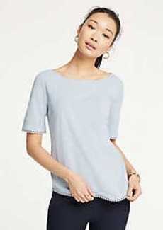 Ann Taylor Dot Lace Trim Tee