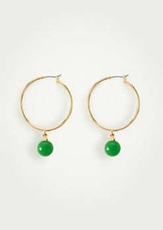 Ann Taylor Beaded Drop Hoop Earrings