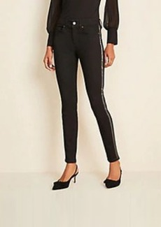 Ann Taylor Beaded Side Stripe Skinny Jeans in Jet Black Wash