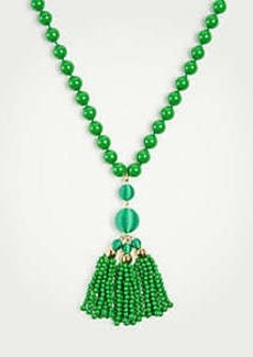 Ann Taylor Beaded Tassel Pendant Necklace