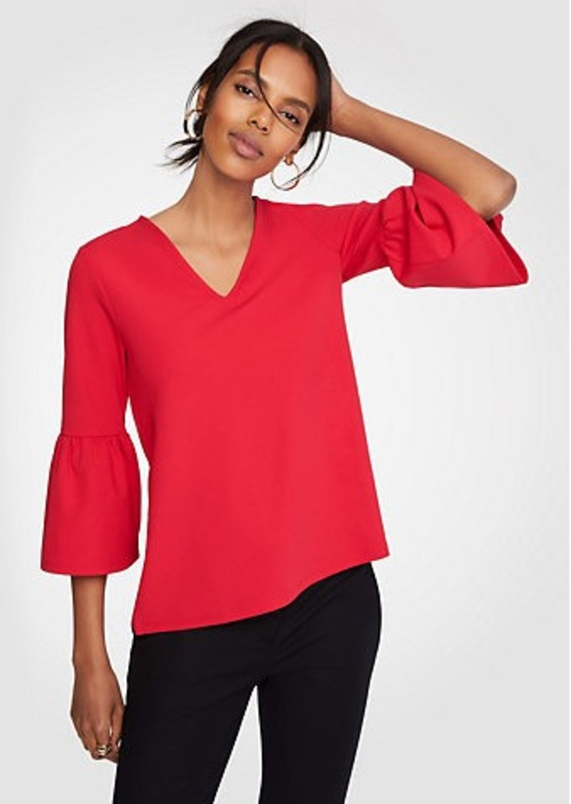 Ann Taylor Bell Sleeve V-Neck Top