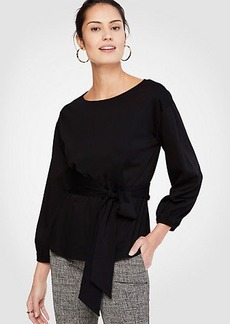 Belted Blouson Sleeve Top