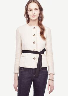 Ann Taylor Belted Fringe Tweed Jacket